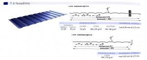 Stogo dangos. Fasadinės dangos, trapecinės dangos. Trapecinis/fasadinis profilis T6, specifikacija.