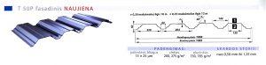 Fasadinės dangos, trapecinės dangos. Trapecinis profilis T 50P specifikacija
