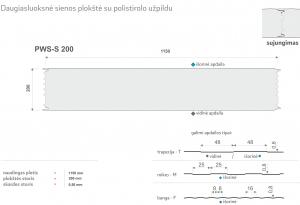 Daugiasluoksnė plokštė. Daugiasliuoksnis sieninis profilis su polistirolo užpildu PWS-S 200. Specifikacija