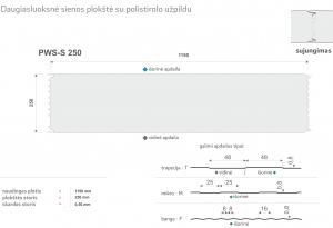 Daugiasluoksnė plokštė. Daugiasliuoksnis sieninis profilis su polistirolo užpildu PWS-S 250. Specifikacija
